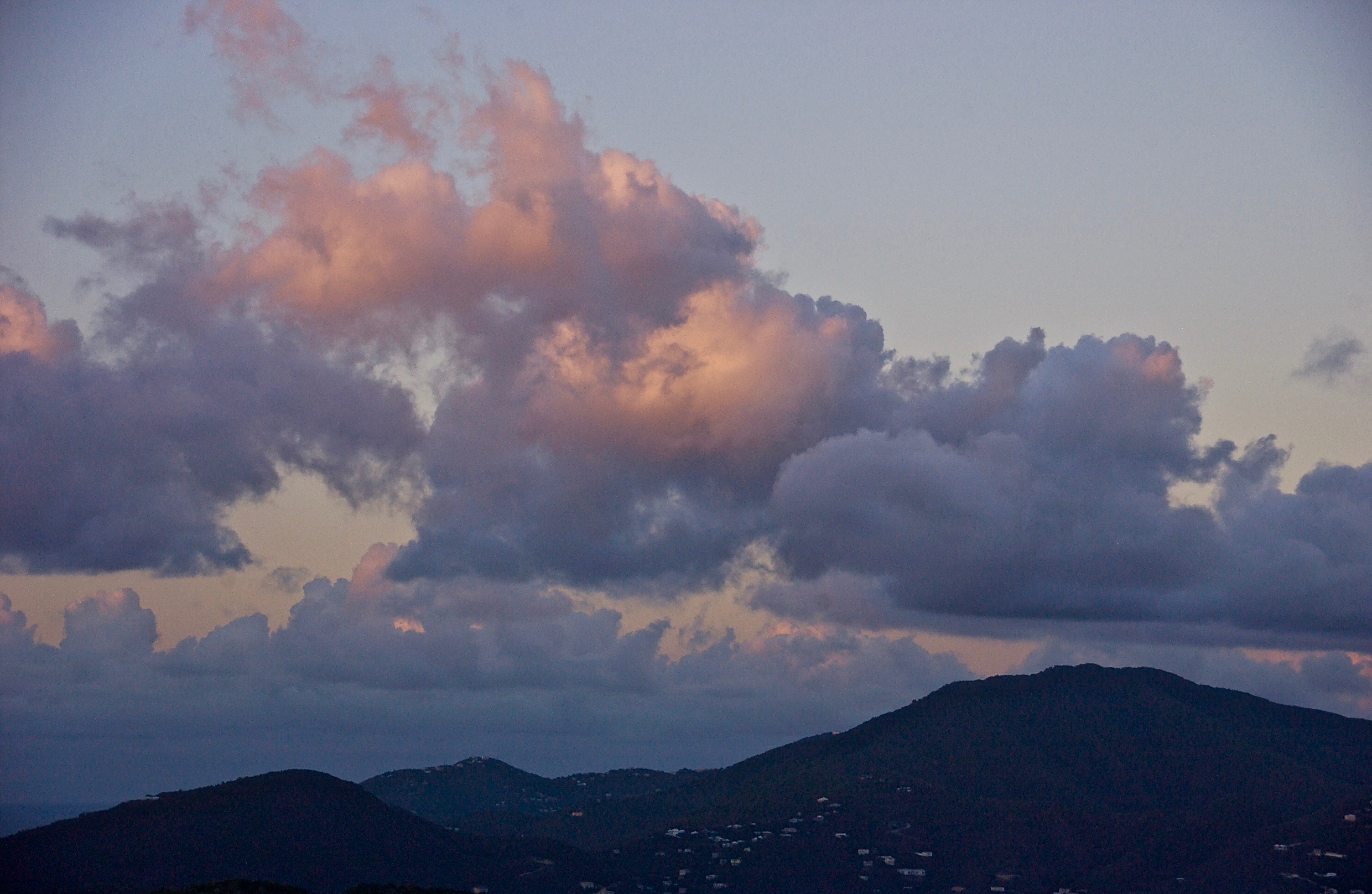 Clouds at First Light, Later Morning; from Bordeaux Mountain; Coral Bay, St. John, U.S. Virgin Islands, USA