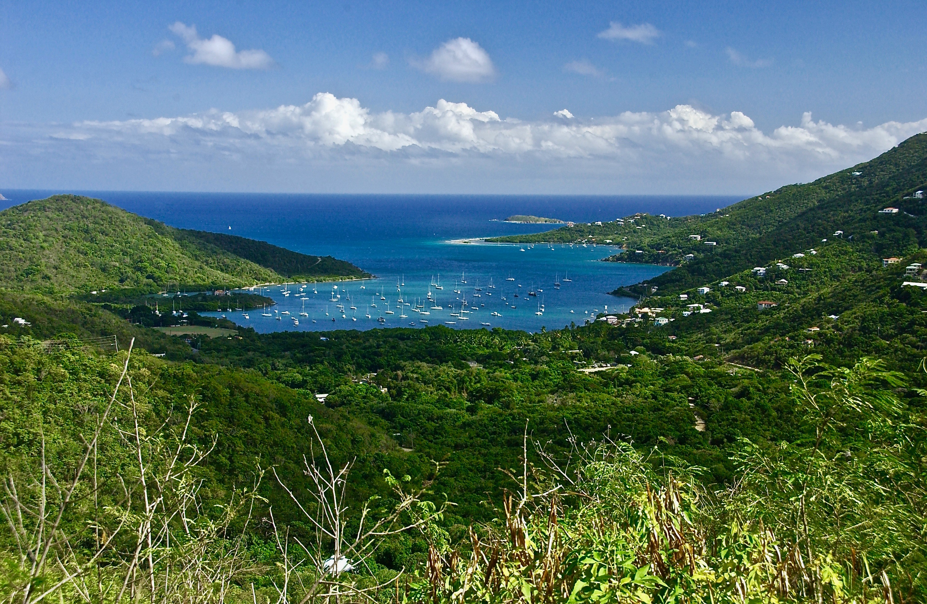 Coral Bay; Overlook, Harbor, Boat Landing, Business District, Fire Station; St. John, U.S. Virgin Islands, USA