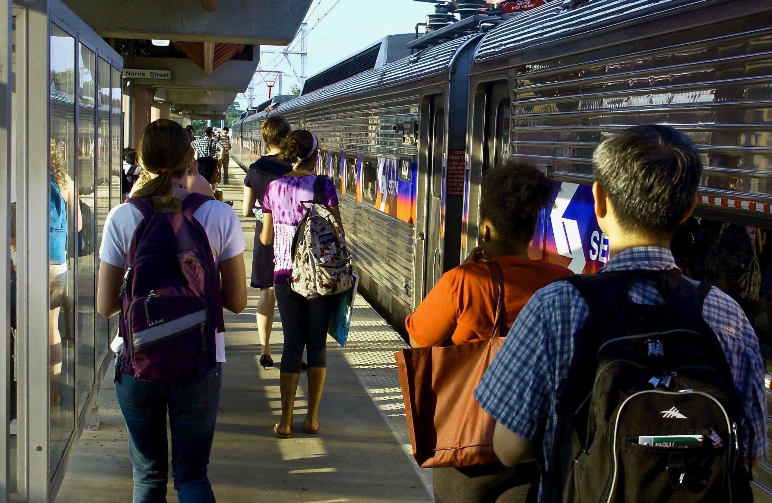 People of the Train Platform; Temple University SEPTA Station; Philadelphia, Pennsylvania, USA