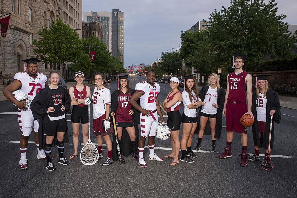 Student athletes on Broad St