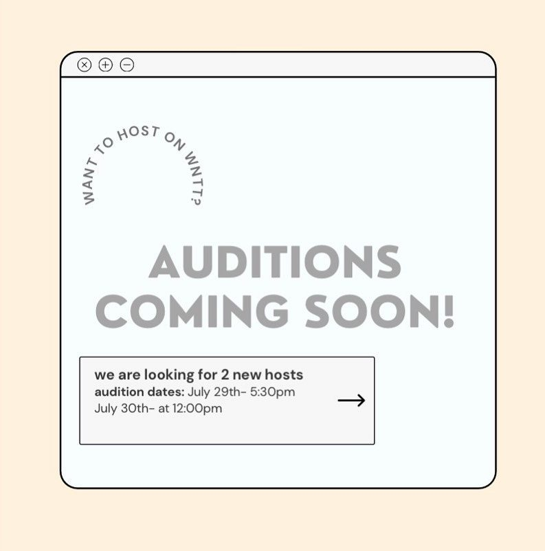 Audition to host We Need to Talk