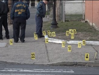 File photo of crime scene evidence markers