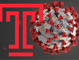 The coronavirus particle next to a temple university logo