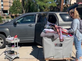 Freshman Mara Tannenbaum prepares to relocate to 1300 Residence Hall.