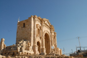 In commemoration of the Roman Emperor Hadrian's visit in the second century; Jerash, Jordan. January 2009.