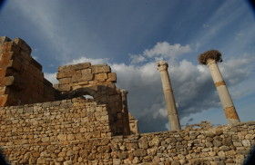 Remaining stone work and pillars; Volubilis, Morocco, North Africa. December 2007.