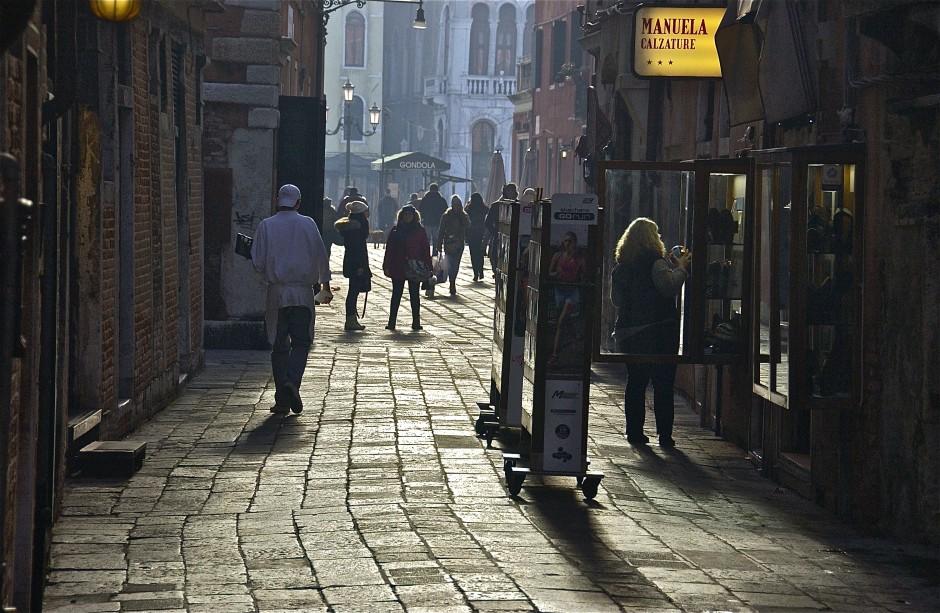 Street scene; looking for light; Venice, Italy. December 2014.