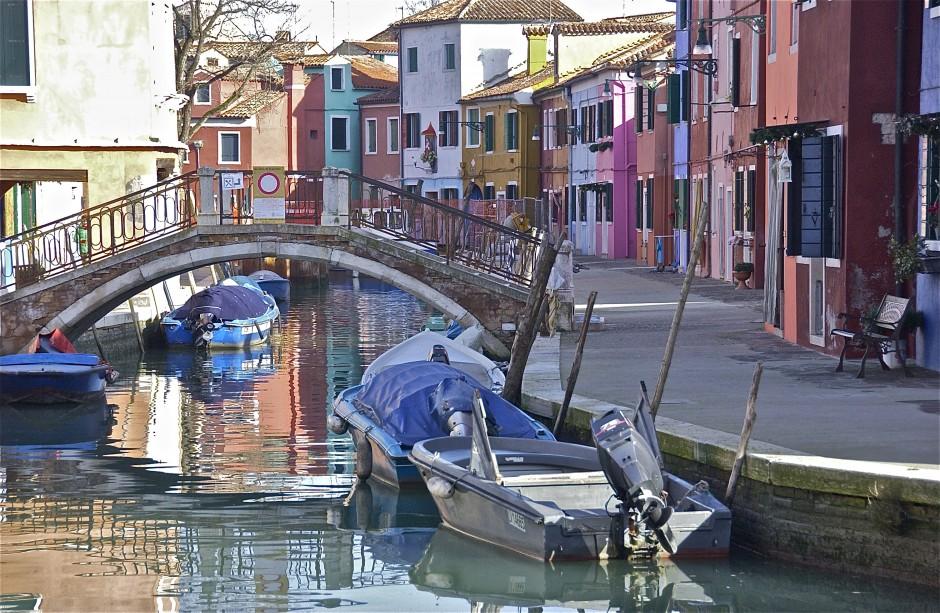 Bridge, boats; Burano, Italy. December 2014.