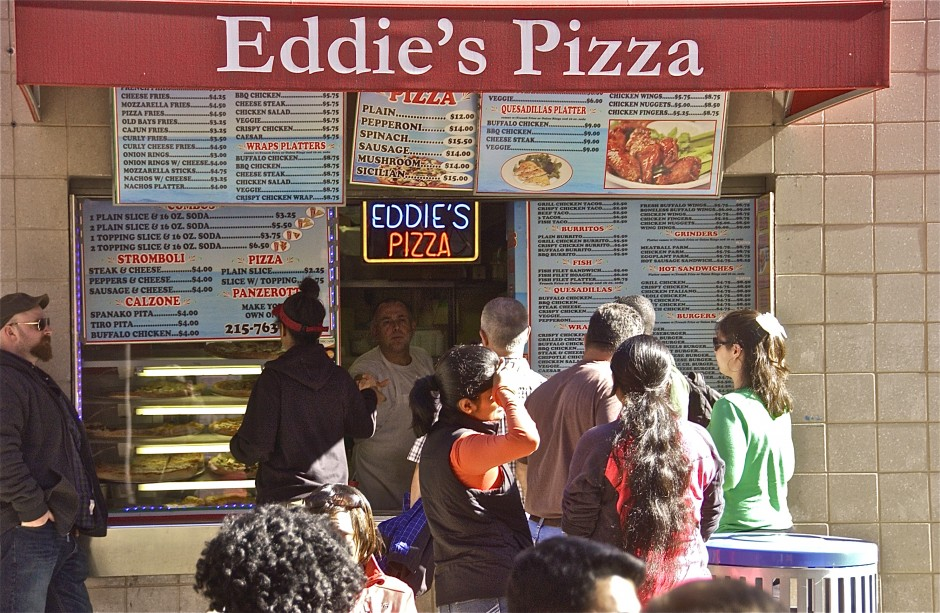 Eddie's Pizza; The Wall; Temple University, Philadelphia, Pennsylvania, USA. November 2015.