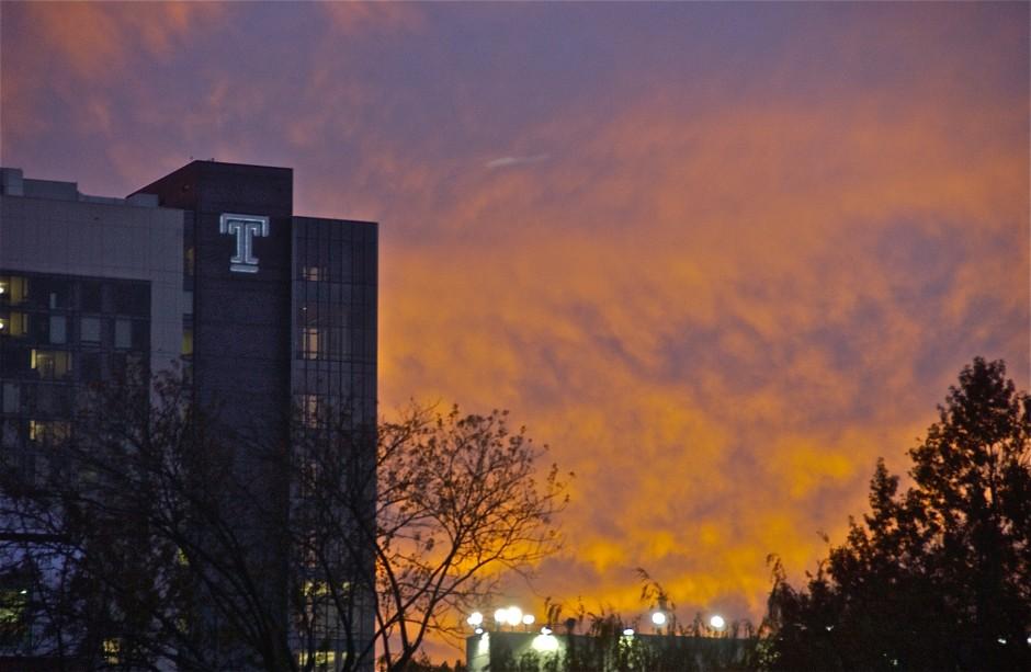 Morgan Hall detail at sunset; Temple University; Philadelphia, Pennsylvania, USA. November 2015.