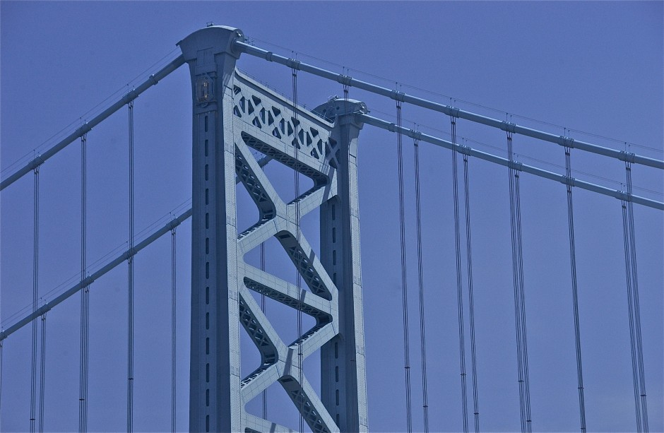 Blue on blue; detail; Benjamin Franklin Bridge; Philadelphia, Pennsylvania, USA. May 2014.
