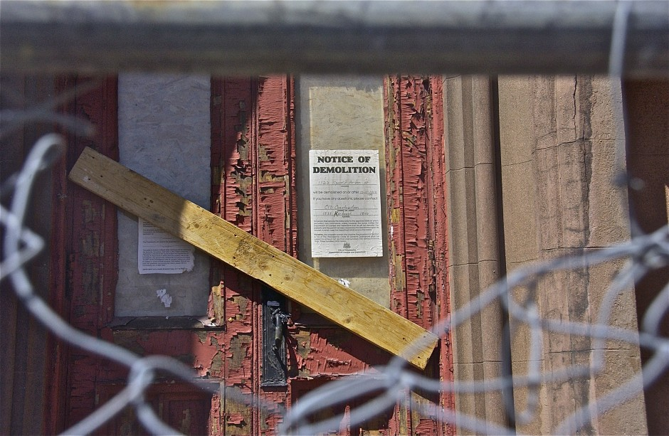 Demolition notice; Church of the Assumption; Church of the Assumption; Philadelphia, Pennsylvania, USA. May 2014.