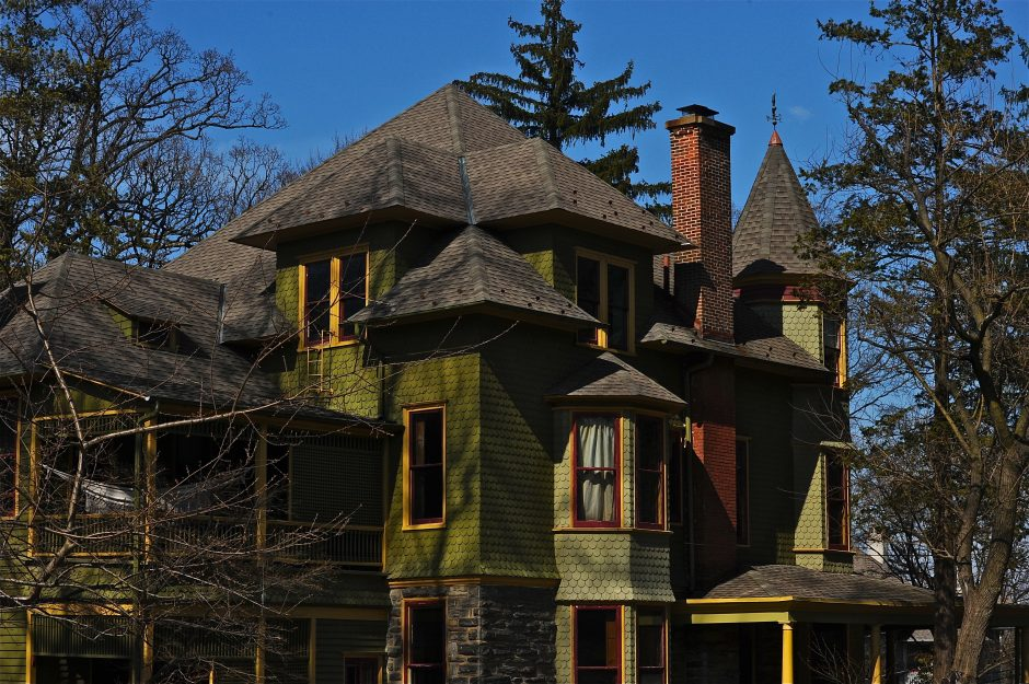 As spring shadows fall; mostly Victorian homes of Old Wyncote, Pennsylvania, USA.  May 2014.