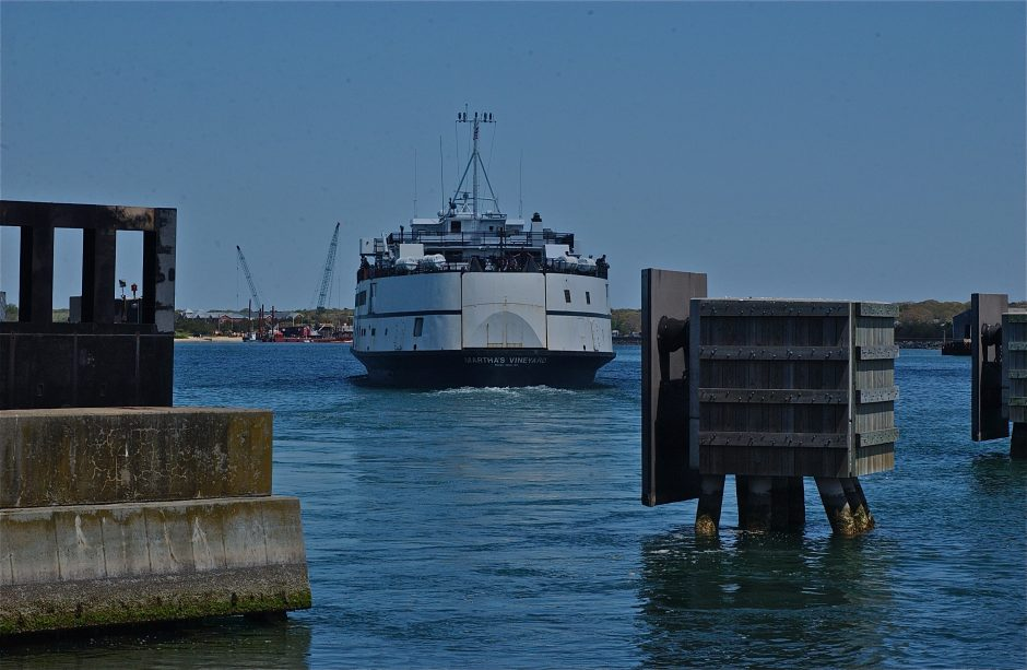 Leaving the landing; Woods Hole-bound; ferry terminal; Vineyard Haven, Martha's Vlineyard, Massachusetts, USA. MAY 2015.