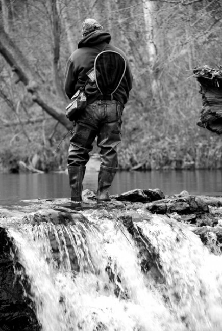 """The Wissahickon Creek"" A fly-fisherman waits just before a waterfall on Sunday April 3, 2011.  - Sam Margulies, Basic Photography Spring 2011"