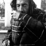 """Old Person"" A homeless man, depicted here choking from trying to talk and smoke at the same time. He has smoked for more than 30- years and does not remember the reason for starting. Gniewomira Swaldek, Basic Photography, Fall 2001"