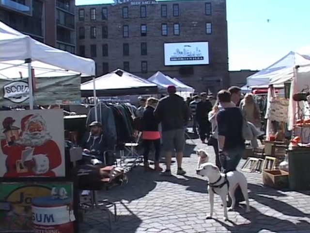 Philadelphia residents gather at the Piazza for the Brooklyn Flea Market
