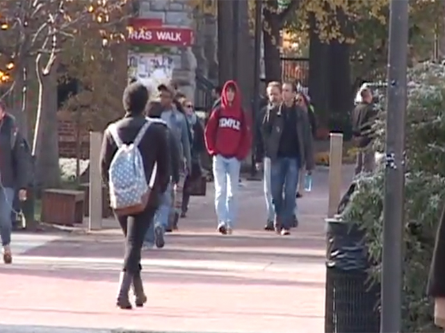Students walking down Liacouras Walk