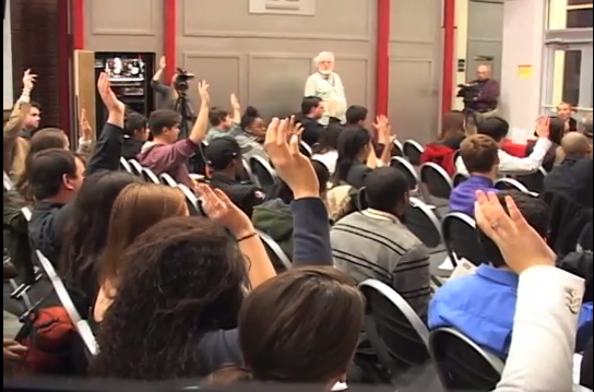 Students raise their hands to ask the Broadcast Pioneers their social networking questions