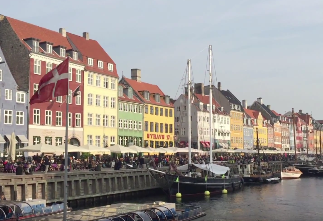 Colorful houses along a waterfront in Europe