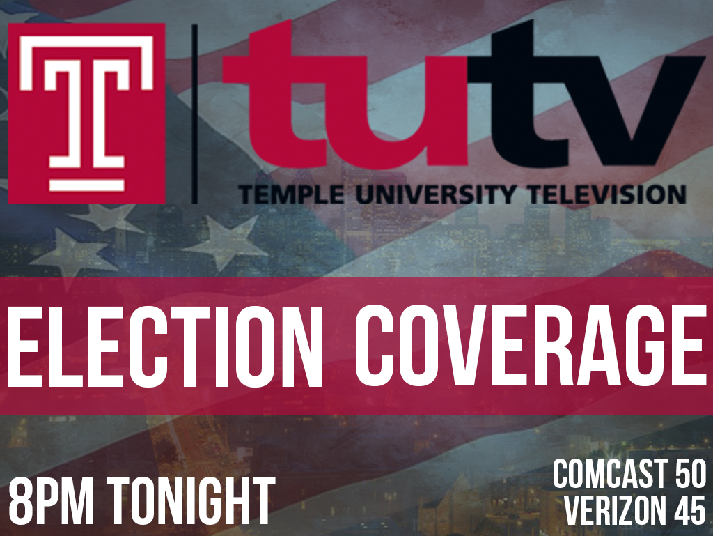 Temple Update will bring you election coverage from 8pm until all votes are in... Catch us on Comcast 50, Verizon Fios 45!
