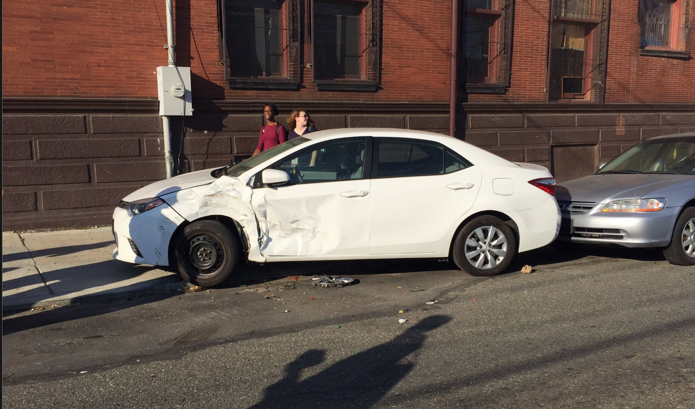 One of the six cars damaged by a driver heading the wrong way down Norris Street Wednesday night.