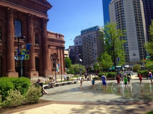 Children plan in the Sister Cities Fountain on the Ben Franklin Parkway