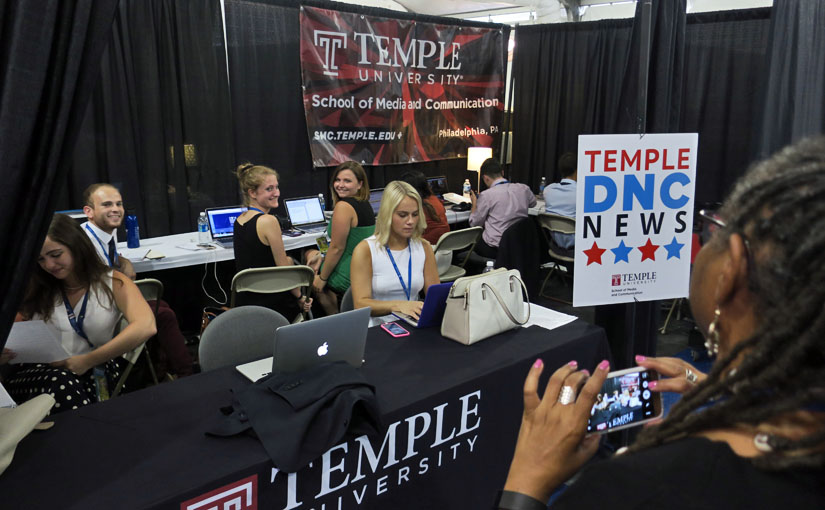 Local and national media check out Temple DNC News