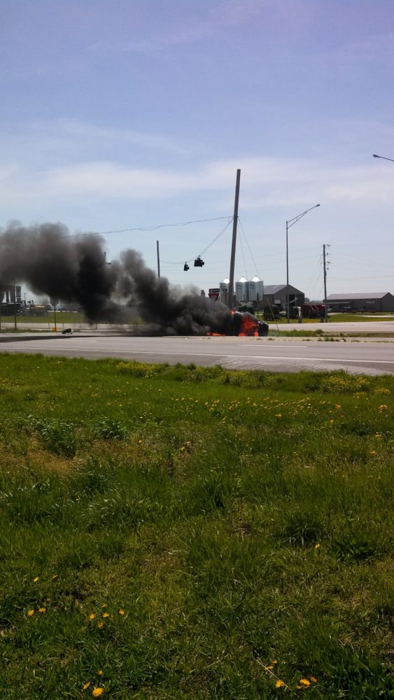 Warrensburg Man Hurt in Fiery Crash