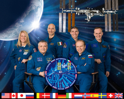 Pictured on the front row are Expedition 37 Commander Fyodor Yurchikhin (left) and Flight Engineer Oleg Kotov. Pictured from the left (back row) are Flight Engineers Karen Nyberg, Luca Parmitano, Michael Hopkins and Sergey Ryazanskiy. Photo credit: NASA