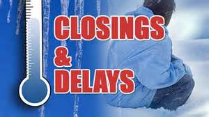 Closings and delays for Wednesday, January 16
