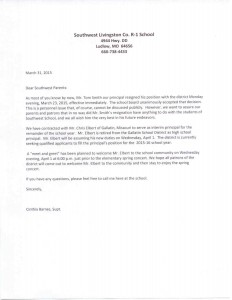The letter sent home to parents from Superintendent Cinthia Barnes