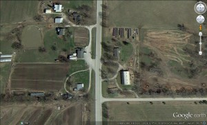 Aerial shot of the Bogard Amish community.