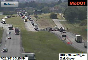 Late morning tractor trailer crash slows traffic on westbound I-70