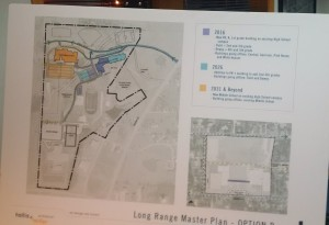 This is a picture of the placard showing Option B of the Master Expansion Plan for the Chillicothe High School campus