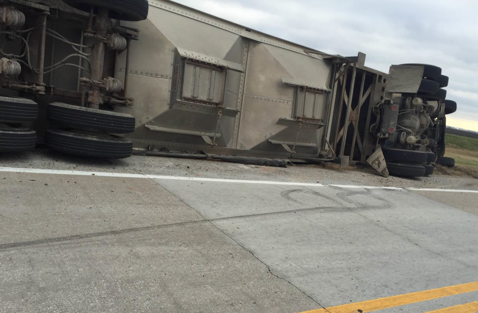 A semi overturned in Moniteau County Friday afternoon