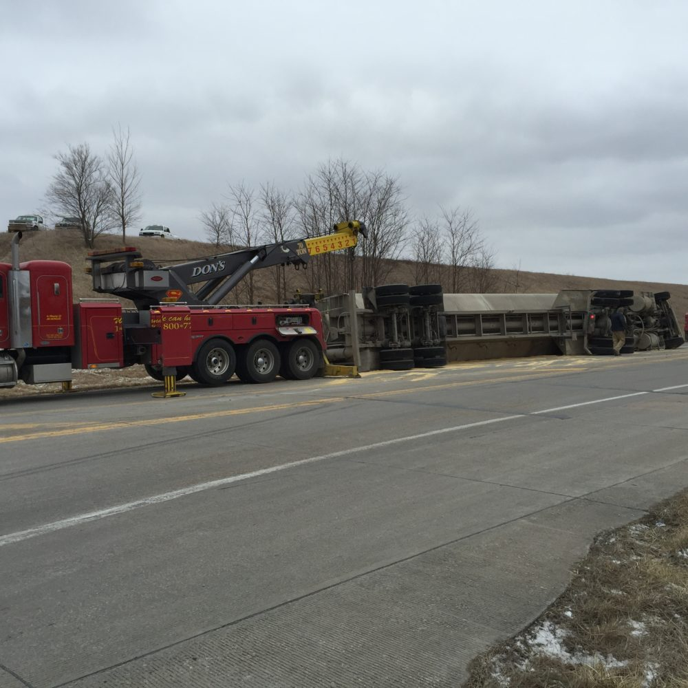 BREAKING: Two reported trapped by overturned semi in Saline County