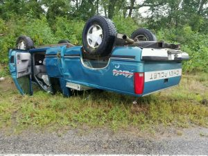 Photo, courtesy of KMZU listener, shows vehicle overturned just off Route C in Carroll County Wednesday, August 31, 2016.