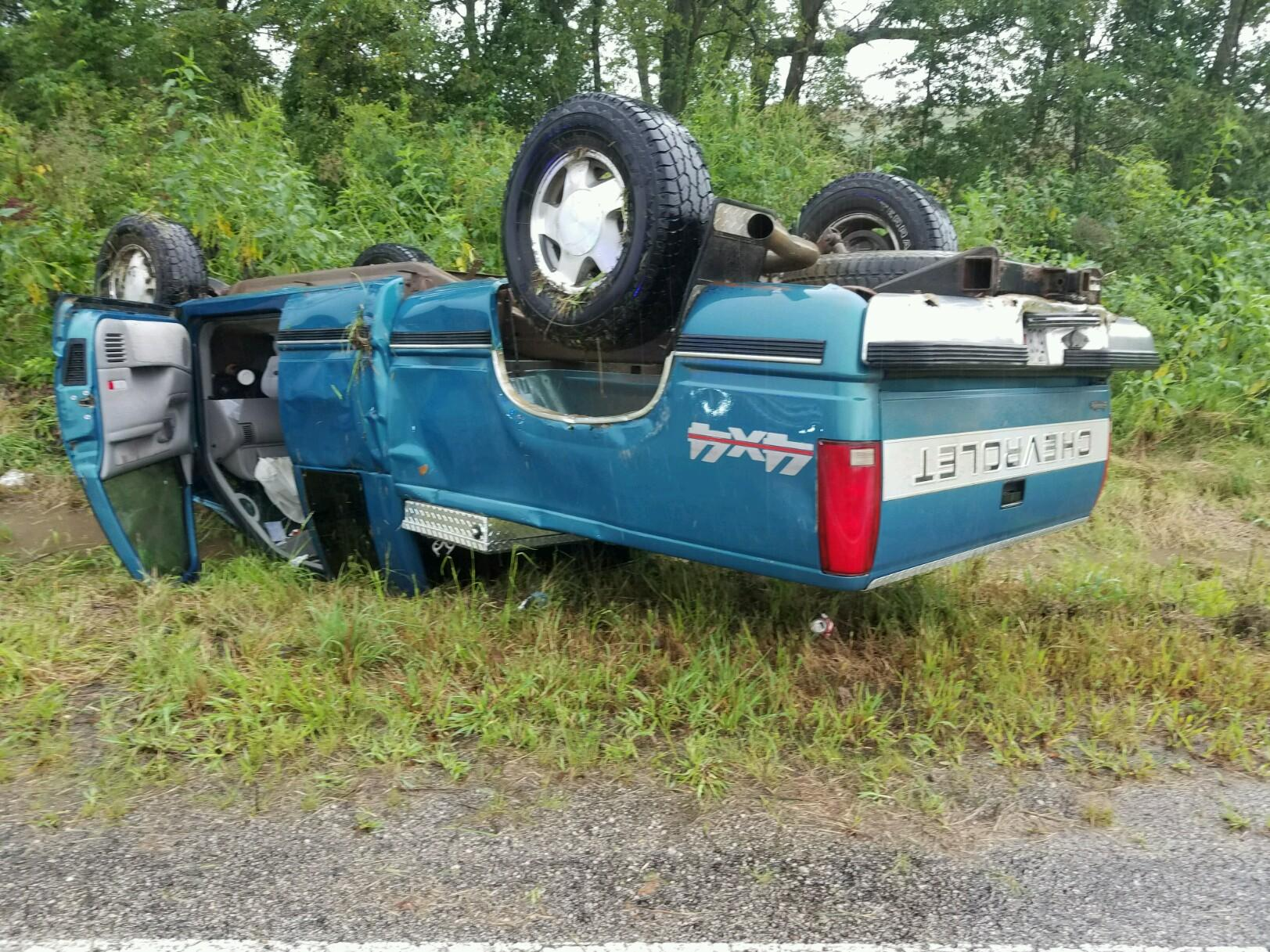 A pickup overturned during a crash in Howard County