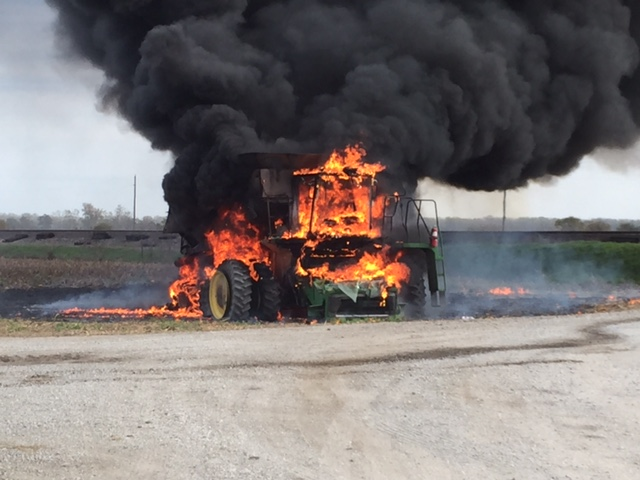 Combine deemed total loss after catching fire in Wakenda