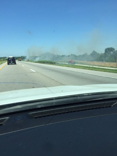 BREAKING — Fire crews respond to grass fire on I-70