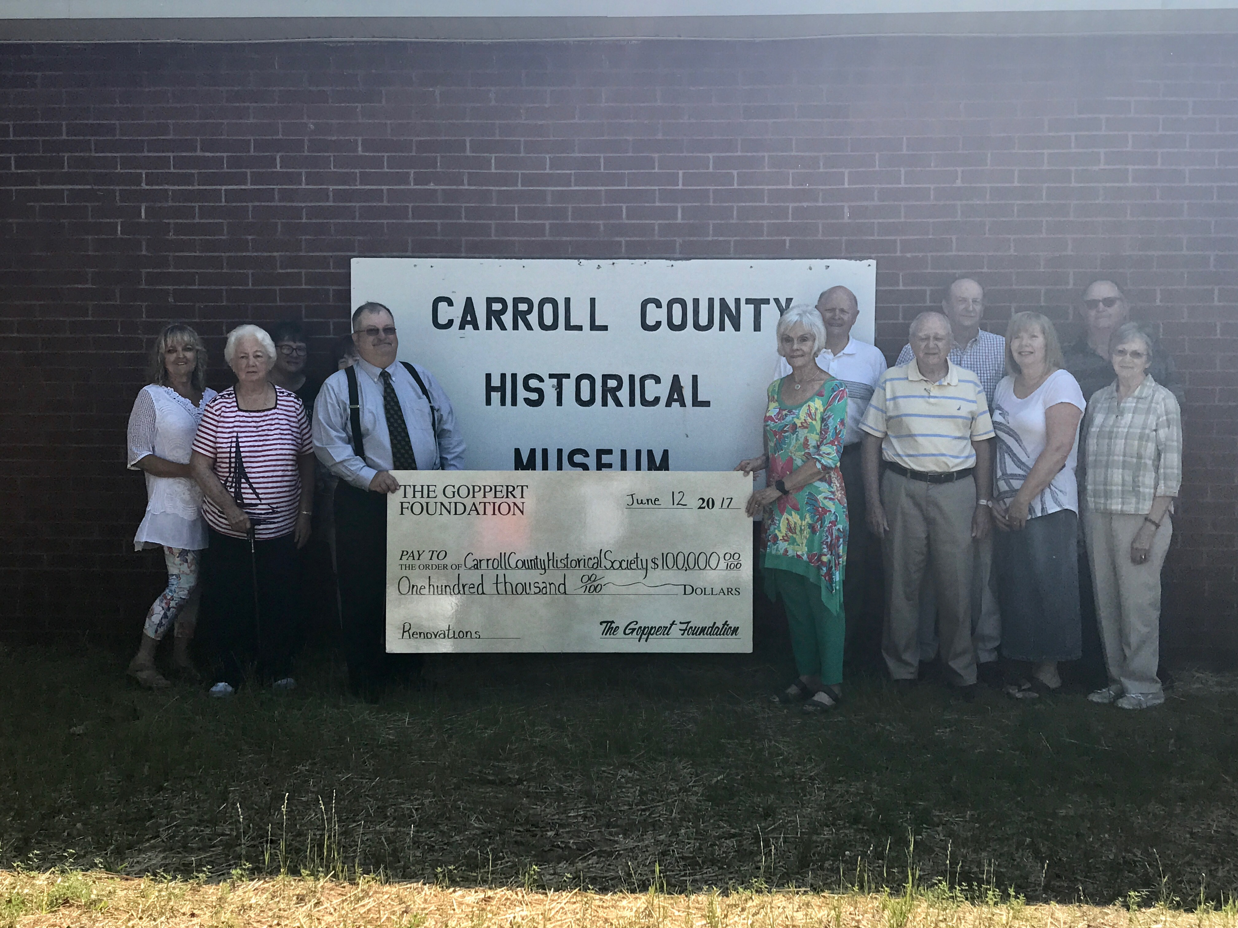 Carroll County Historical Society receives $100,000 grant from the Goppert Foundation