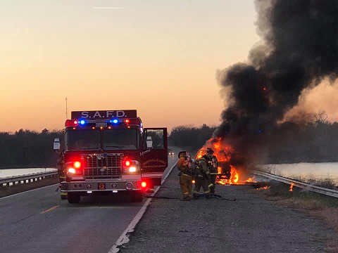 Truck totaled by fire near Smithville