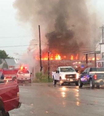 Multiple jurisdictions battle Blackburn structure fire