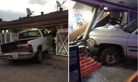 Holt car crash caves in side of truck stop