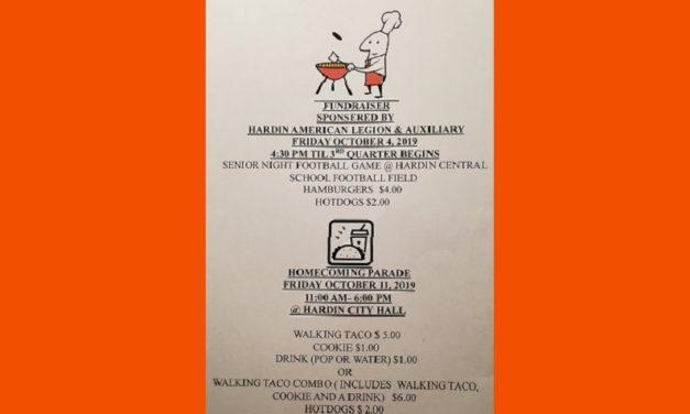 Hardin American Legion & Auxiliary Homecoming Fundraiser