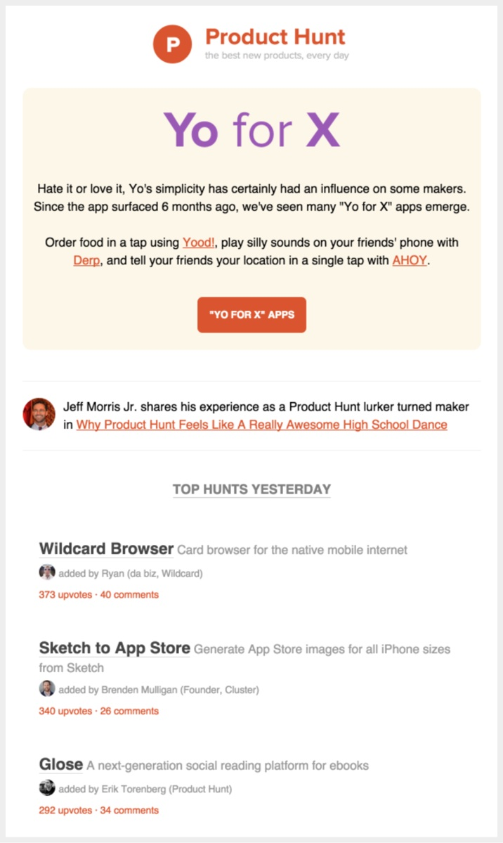 5 emails the best apps send to their users ive heard from various people i ocassionally visit product hunt but i do read their digest daily product hunts digest shows the best products from fandeluxe Images
