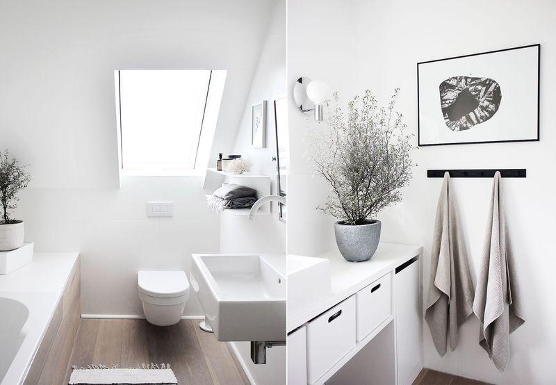 Ein Badezimmer ganz in Weiß.