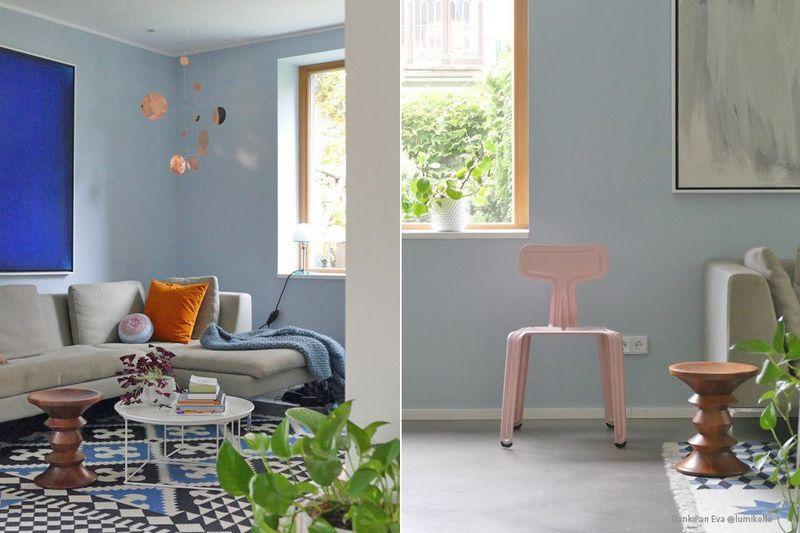 Pastellblau als Wandfarbe im Wohnzimmer.
