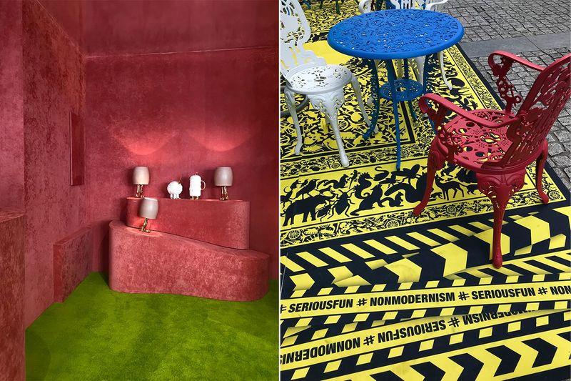 Kräftige Rot- und Grüntöne auf der Mailänder Möbelmesse.